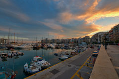 Piraeus Marina in Athens at Twilight time Royalty Free Stock Photography
