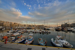 Piraeus Marina in Athens at Twilight time Royalty Free Stock Photo