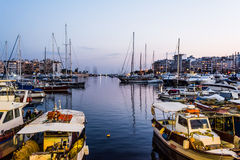 Piraeus Marina port in the night Royalty Free Stock Photography