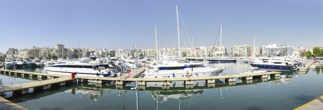 Piraeus port with luxury yachts. Athens, Greece, summer time royalty free stock photos
