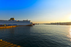 Piraeus port. View of the Piraeus port in the morning sun, Athens - Greece stock image