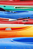 Piraguas. Colored canoes in beach in Galicia Royalty Free Stock Photo