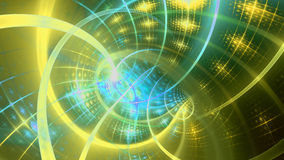 Piral on the left with an intricate interwoven pattern and a light blur, all shining yellow,green,cyan Stock Image