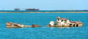 Pirallahi-Insel-Wrack Lizenzfreie Stockfotos