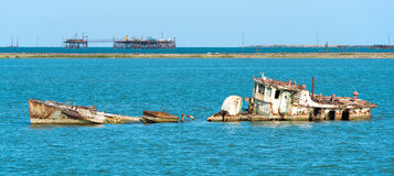 Pirallahi wyspy wrak Zdjęcia Royalty Free