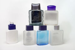 Piramid of empty bottles of lotions and gels after shave Stock Images