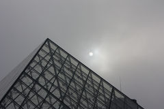 Piramid louvre. Louvre museum in paris with lines and repetitions Stock Image