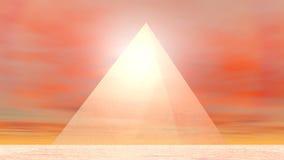 Piramide aan 3D zon - geef terug stock illustratie