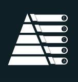 Piramide in bianco bianca del grafico Visualizzi la crescita o diminuisca illustrazione vettoriale
