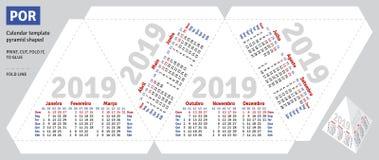 Piramide brasiliana portoghese 2019 del calendario del modello a forma di royalty illustrazione gratis