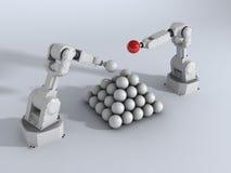 Piramide con i robot Illustrazione Vettoriale