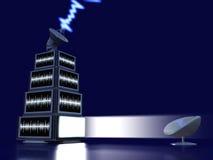 Piramide degli schermi della TV Immagine Stock