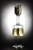 Piramide dei vetri del champagne Immagini Stock Libere da Diritti