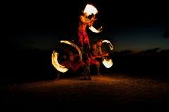 Piramide della forma dei ballerini del fuoco Fotografia Stock Libera da Diritti