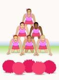 Piramide della ragazza pon pon Fotografia Stock