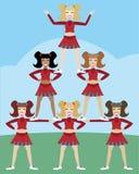 Piramide della ragazza pon pon Immagine Stock