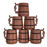 Piramide delle tazze di birra di legno Illustrazione Vettoriale