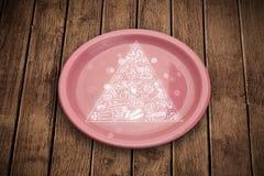 Piramide di alimento disegnata a mano sul piatto variopinto del piatto Fotografia Stock