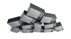 Piramide di retro TV su un'illustrazione bianca del fondo 3D, rappresentazione 3D Immagini Stock Libere da Diritti