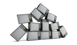Piramide di retro TV su un'illustrazione bianca del fondo 3D, rappresentazione 3D Immagine Stock