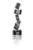 Piramide di vecchie macchine fotografiche Fotografia Stock