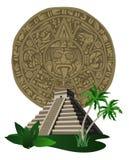 Piramide e calendario Mayan antichi Immagini Stock Libere da Diritti