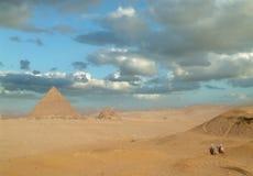 Piramide egiziana a Giza Immagini Stock Libere da Diritti