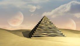 Piramide en Planeten vector illustratie