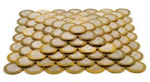 Piramide fatta delle monete Fotografie Stock