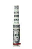 Piramide finanziaria dai rulli del dollaro fotografie stock