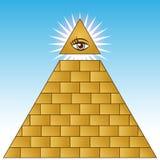 Piramide finanziaria dell'occhio dorato Fotografia Stock Libera da Diritti
