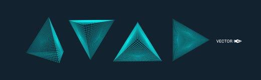 piramide Griglia molecolare stile di tecnologia 3D Illustrazione di vettore Struttura del collegamento per chimica e scienza illustrazione vettoriale