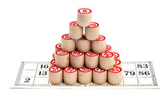 Piramide van bingovaatjes stock foto's