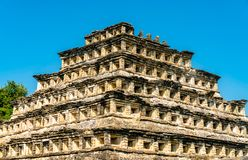 Piramide van de Gebieden bij Gr Tajin, een pre-Columbian archeologische plaats in zuidelijk Mexico royalty-vrije stock foto's
