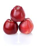 Piramide van drie rode appelen Royalty-vrije Stock Fotografie