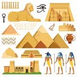 Piramide van Egypte Geschiedenisoriëntatiepunten Cultuurgoederen en symbolen van Egyptenaren royalty-vrije illustratie