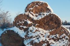 Piramide van hooibergen met sneeuw worden behandeld die Stock Foto's