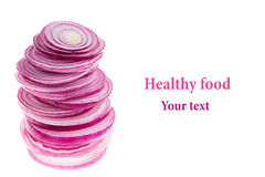 Piramide van plakken van roze ui Voorwerp met exemplaarruimte Conceptenart. De achtergrond van het voedsel Geïsoleerde Royalty-vrije Stock Foto's