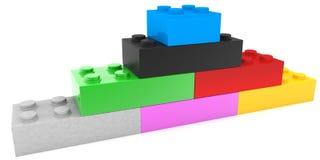 Piramide van stuk speelgoed bakstenen in diverse kleuren royalty-vrije illustratie