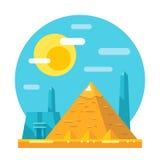 Piramide van vlak het ontwerporiëntatiepunt van Giza Royalty-vrije Stock Afbeeldingen