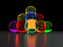 Piramide variopinta della palla di vetro Fotografie Stock Libere da Diritti