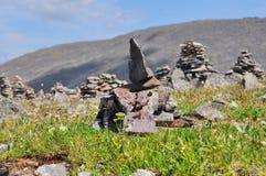 Piramides di pietra dell'Altay Fotografie Stock Libere da Diritti