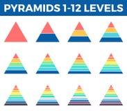 Piramides, driehoeken met 1 - 12 stappen, niveaus Stock Afbeeldingen