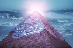 Piramides van Giza, in Egypte stock afbeelding