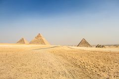 Piramides van Giza, Egypte stock foto