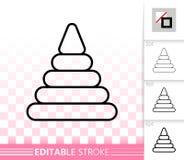 Piramidestuk speelgoed eenvoudig zwart lijn vectorpictogram royalty-vrije illustratie