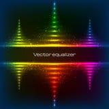 Piramidi al neon di vettore dell'equalizzatore Fotografie Stock Libere da Diritti