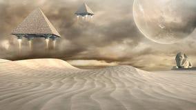 Piramidi di volo e della Sfinge Fotografie Stock