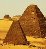 Piramidi nel Sudan Fotografie Stock Libere da Diritti