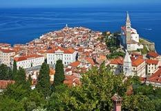 Piran,斯洛文尼亚全部视图  免版税库存图片